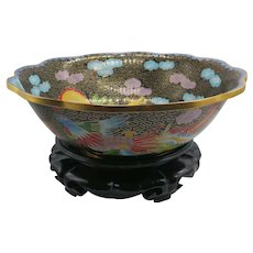 Beautiful Cloisonné Enameled Bowl with a Dragon Design and Stand