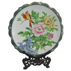 Chinese Cloisonné Large Plate Charger Fine Detail 20th C