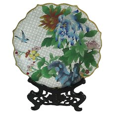 Chinese Cloisonné Plate and Stand Fine Detail 20th C