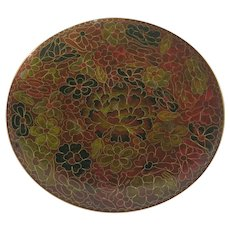 Chinese Cloisonné Plate Fine Detail 20th C