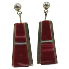 Native American Zuni Sterling Silver Red Spiny Oyster Earrings Signed BP