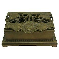 Vintage Art Nouveau Stamp Box Brass