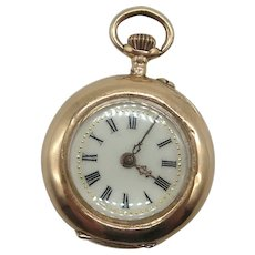 Vintage 14K Gold Remontoir Cylindre 10 Rubis French Pocket Watch