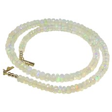Beautiful White Fire Opal 14K Yellow Gold Necklace