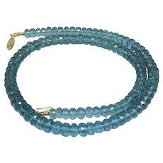 Beautiful London Blue Topaz Quartz Faceted Necklace 14K Yellow Gold