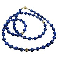 Beautiful Lapis 14k Yellow Gold Bead Necklace