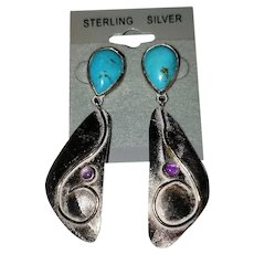Vintage Sterling Silver Gold Filled Turquoise Amethyst Native American Dangle Earrings