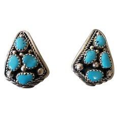 Vintage Native American Sterling Silver Sleeping Beauty Turquoise Post Earrings