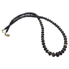 Beautiful Ethiopian Black Opal Bead Necklace 14K Yellow Gold