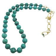 Amazing Hand Carved Natural Turquoise Bead Necklace