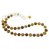Lovely Mexico Amber and Gold Sterling Silver Vermeil Bead Necklace