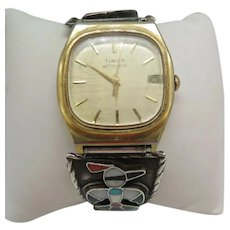 Vintage Native American Sterling Thunderbird Inlay Watch Tips w Timex Watch