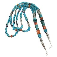Native American Triple Strand Turquoise and Spiny Oyster Necklace Nice!