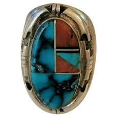 Native American Albert Francisco Sterling Silver Inlaid Ring Size 10 Turquoise