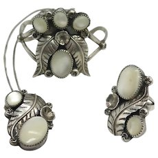 Vintage Native American Mother of Pearl Cuff Bracelet Pendant and Ring Set