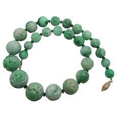 Vintage Natural Apple Green Carved Jade Shou Longevity Dragon Bead Necklace 14K