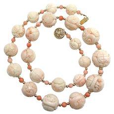 Vintage Natural Angel Skin Coral Shou Longevity Dragon Bead Necklace 14K