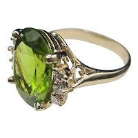 14K Peridot/Diamond Ring