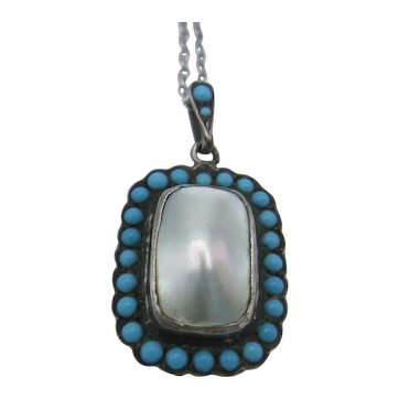Turquoise and Mother of Pearl Pendant