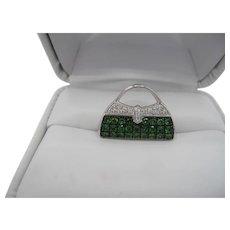 Designer Tsavorite/Diamond Charm/Pendant