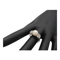 Antique 18K Pearl and Diamond Ring
