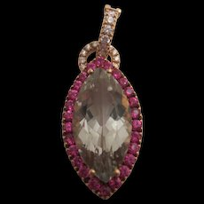 Stunning 18K Pink Sapphire, Prasiolite and Diamond Pendant/Enhancer  ***HOLD FOR ROBYN***