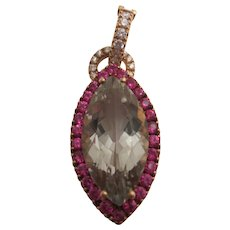 Stunning 18K Pink Sapphire, Prasiolite and Diamond Pendant/Enhancer  ***HOLD FOR ROBYN***