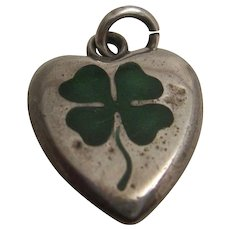 """Sweet Old Enamelled """"Lucky Charm"""" Heart"""