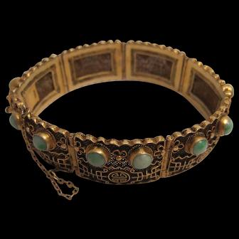 Very Fine Silver Gilt and Jadeite Chinese Bracelet