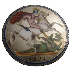 George IV Enamelled Silver Crown Brooch