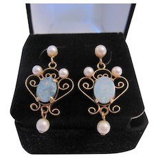 Lovely Feminine 14K Opal and Pearl Earrings