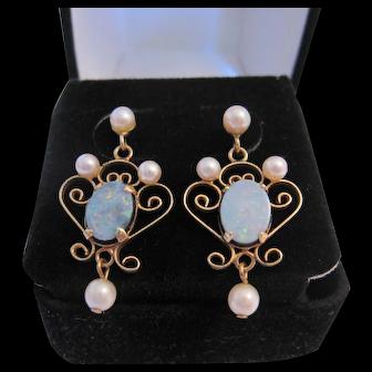 Lovely Feminine 14K Opal and Pearl Earrings