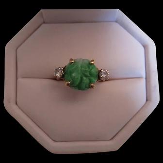 Pretty Vintage Jadeite Jade and Diamond Ring