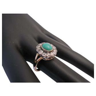 Antique Persian Turquoise and Old Cut Diamond Ring