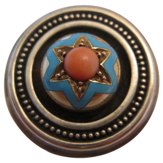 Handsome Victorian Brooch with Coral and Enamel