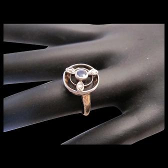 Sweet Art Deco 14K Diamond and Sapphire Ring