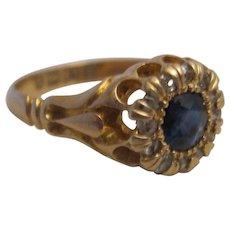 Hallmarked Antique 18K Sapphire and Diamond Ring