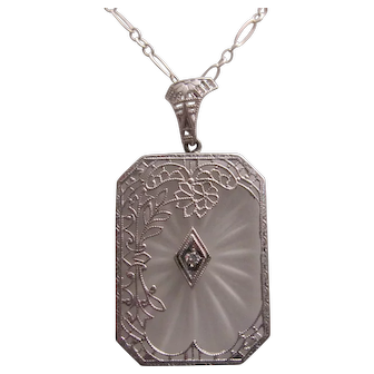 Lovely 14K Camphor Glass and Diamond Pendant