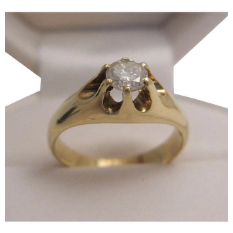 14K Belcher Style Diamond Ring