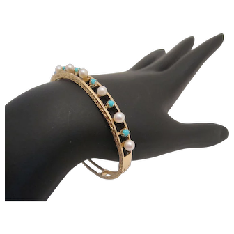 Pretty 14K Turquoise and Pearl Bangle