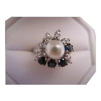Pretty 14K White Gold Diamond/Sapphire/Pearl Ring