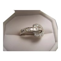 14K and Diamond Buckle Style Ring