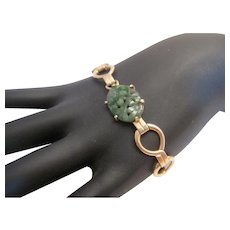 14K Carved Jadeite Bracelet