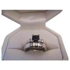 Sweet 18K Sapphire and Diamond Wedding/Engagement Ring Set