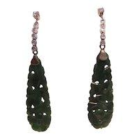 Superb 14K Carved Jade and Diamond Earrings