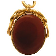 9K Bloodstone/Carnelian Watch Fob