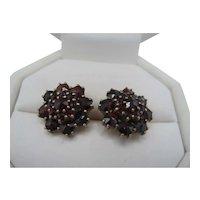Bohemian Garnet Cluster Earrings