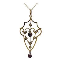 Attractive 9K Garnet and Pearl Lavaliere