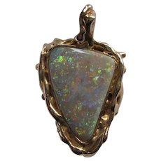 Custom Made 14K Free Form Opal Pendant