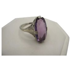 14K White Gold Filigree Amethyst Ring